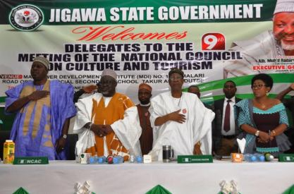 Director General, National Council for Arts and Culture, Otunba Olusegun Runsewe; Secretary to Jigawa State Government, Alhaji Adamu Abdulkadir; Minister of Information and Culture, Alhaji Lai Mohammed and the Permanent Secretary, Federal Ministry of Information and Culture, Deaconess Grace Isu Gekpe, at the 9th National Council on Tourism, Culture and National Orientation in Dutse, Jigawa State, on Friday.