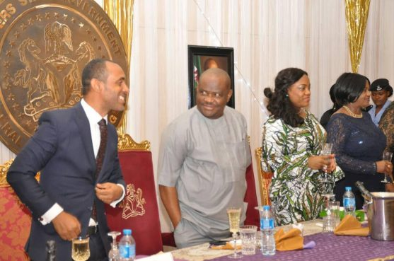 Rivers State Governor, Nyesom Ezenwo Wike (2nd L), Wife of the Rivers State Governor, Justice Eberechi Suzzette Nyesom-Wike (2nd R), Deputy Governor Ipalibo Harry Banigo (R) and Coordinator of Miss University Africa, Mr Taylor Nazzal at the State Dinner organised in honour of contestants of the Miss University Africa at the Government House Port Harcourt on Friday.