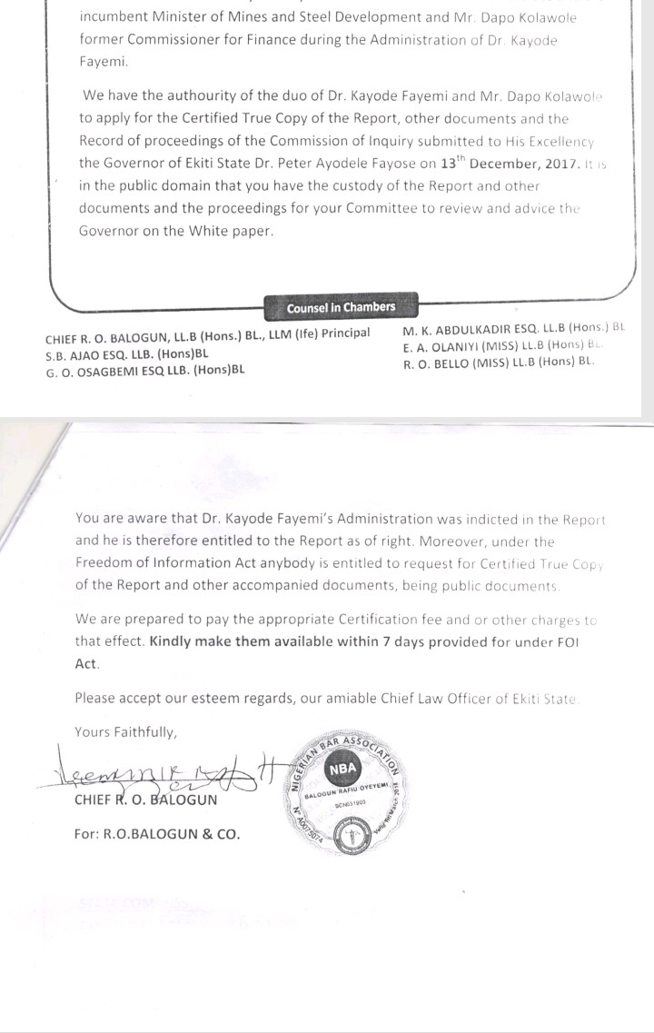 Ekiti Government frustrating efforts to get Panel report, Fayemi's lawyersays
